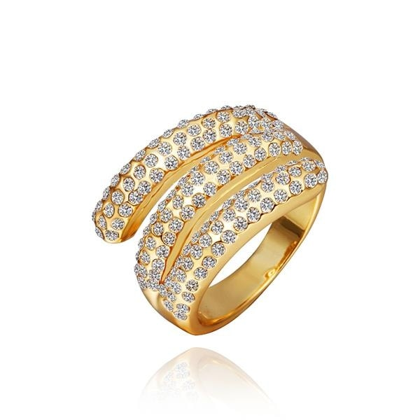 Gold Plated Matrix Curved Crystal Jewels Ring