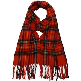 Winter Fall Cold Weather Irish Plaid Long Cashmere Feel Scarf, Christmas Red