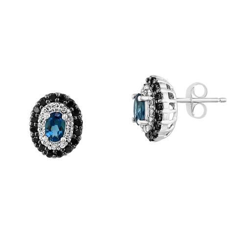 Effy Jewelry London Blue Topaz Stud Earrings with Black & White Diamonds in 14K White Gold, 1.04 TWC