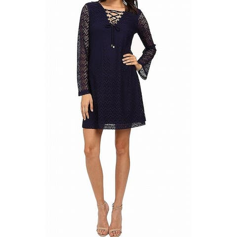 Jessica Simpson Womens Bell-Sleeve Lace-Up Shift Dress