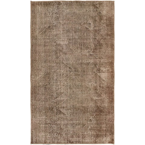 ECARPETGALLERY Hand-knotted Anatolian Overdyed Beige, Brown Wool Rug - 3'10 x 6'6