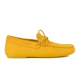 Tod's Men's Yellow Suede Yellow Sole Front Tie Moccasins