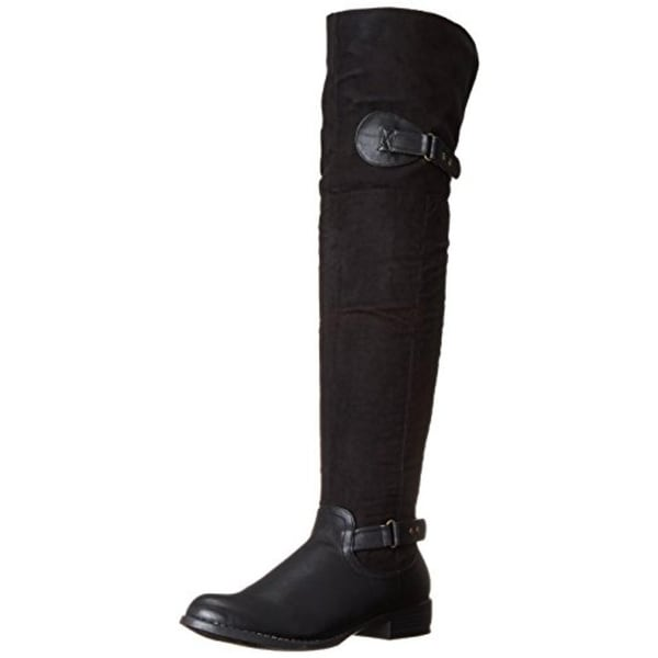 Luichiny Womens Pom A Grant Riding Boots Faux Leather Belted