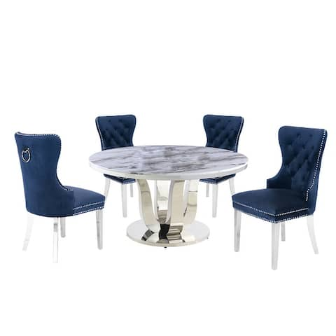 Best Quality Furniture Genuine 5pc White Marble Dining Set with Rings