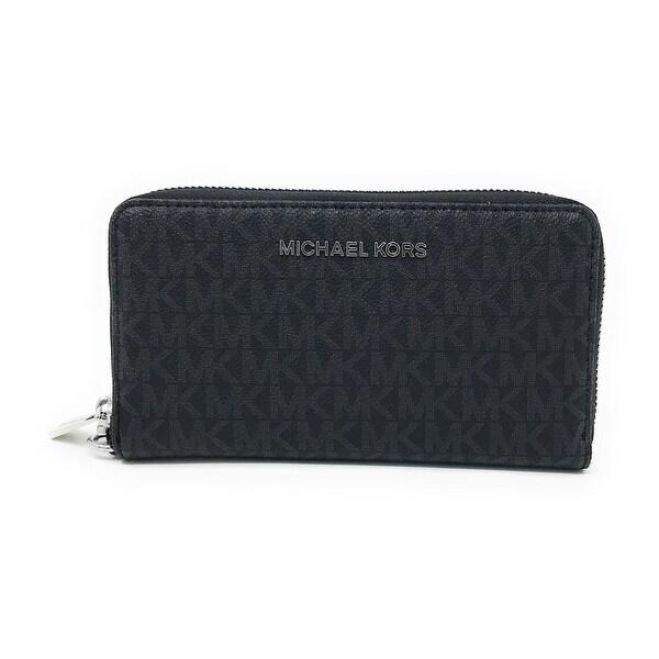4a6bfc00a293f5 Michael Kors Jet Set Item Large Flat Multifunction Phone Wristlet Case,  Black