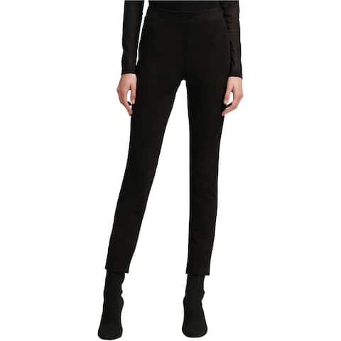 DKNY Womens Fauz Suede Casual Leggings, Black, Small