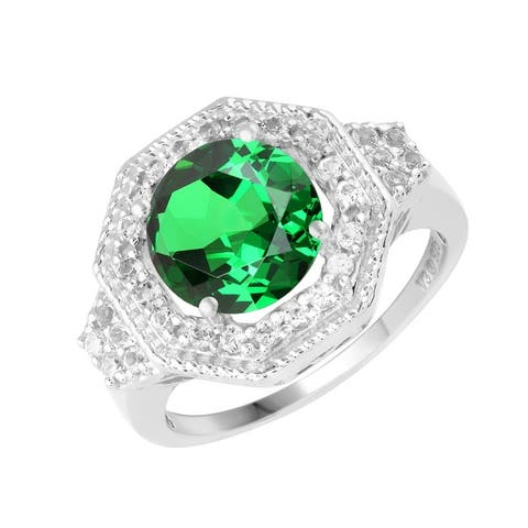 Sterling Silver with Emerald and White Topaz Halo Ring