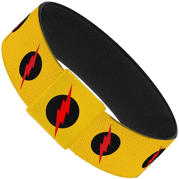 "Reverse Flash Logo Golden Yellow Black Red Elastic Bracelet 1.0"" Wide"