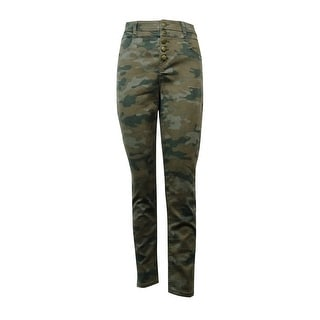 Tinseltown Juniors' Printed Button-Closure Skinny Jeans
