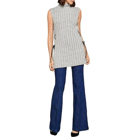 BCBG Max Azria Womens Tunic Sweater Lace-Up Side Slit