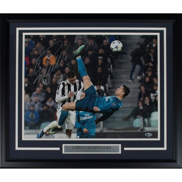 01cd28387 Cristiano Ronaldo Signed Framed 16x20 Real Madrid vs Juve Bicycle Kick  Photo BAS