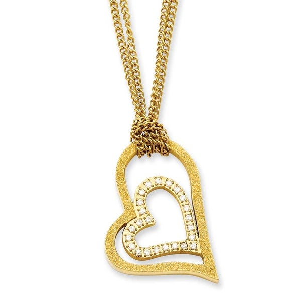 Stainless Steel Gold-plated Diamond Cut Heart 20in Necklace (2 mm) - 20 in