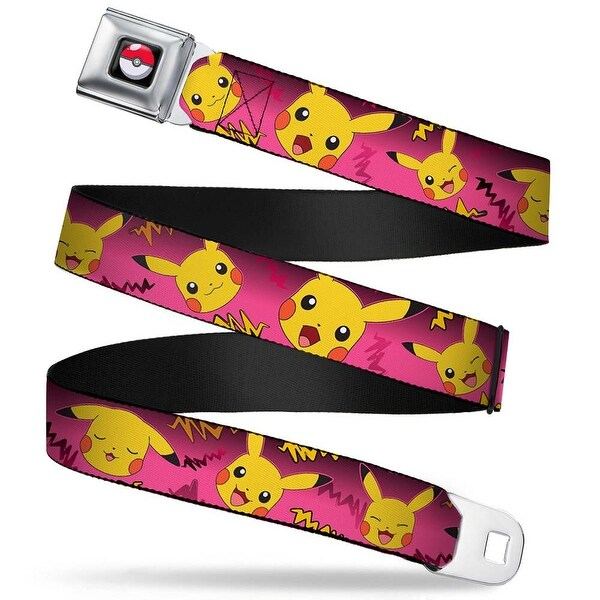 Pok Ball Full Color Pikachu Expressions Electric Waves Pinks Yellows Seatbelt Belt