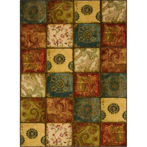 Copper Grove Bienville Rustic Floral Patchwork Tile Area Rug