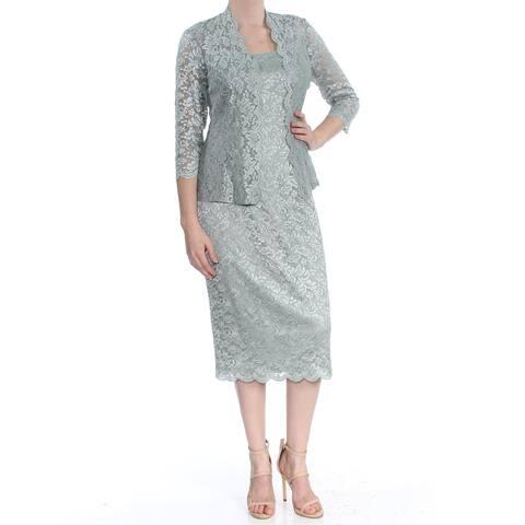 b7702c66f646 ALEX EVENINGS Womens Green Lace & Jacket 3/4 Sleeve Scoop Neck Midi Sheath  Evening
