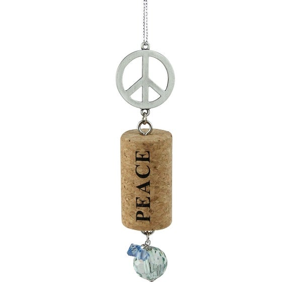 """Tuscan Winery Peace Sign """"Peace"""" Inspirational Decorative Green Faux Gem Accented Wine Cork Christmas Ornament 5.5"""""""