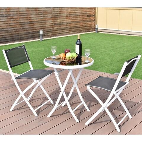 Costway 3 PCS Folding Bistro Table Chairs Set Garden Backyard Patio Furniture Black