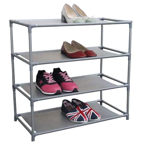 12 Pair Multi-Purpose Stackable Free-Standing Shoe Rack, Grey - 4-Tier
