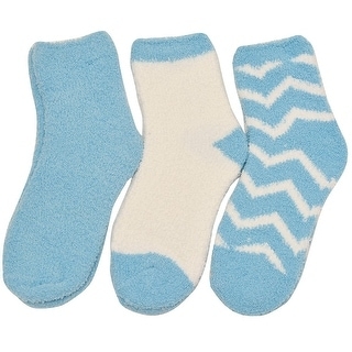 Alexa Rose Big Girls Blue White Solid Chevron Stripe 3 Pair Pack Socks 9-11