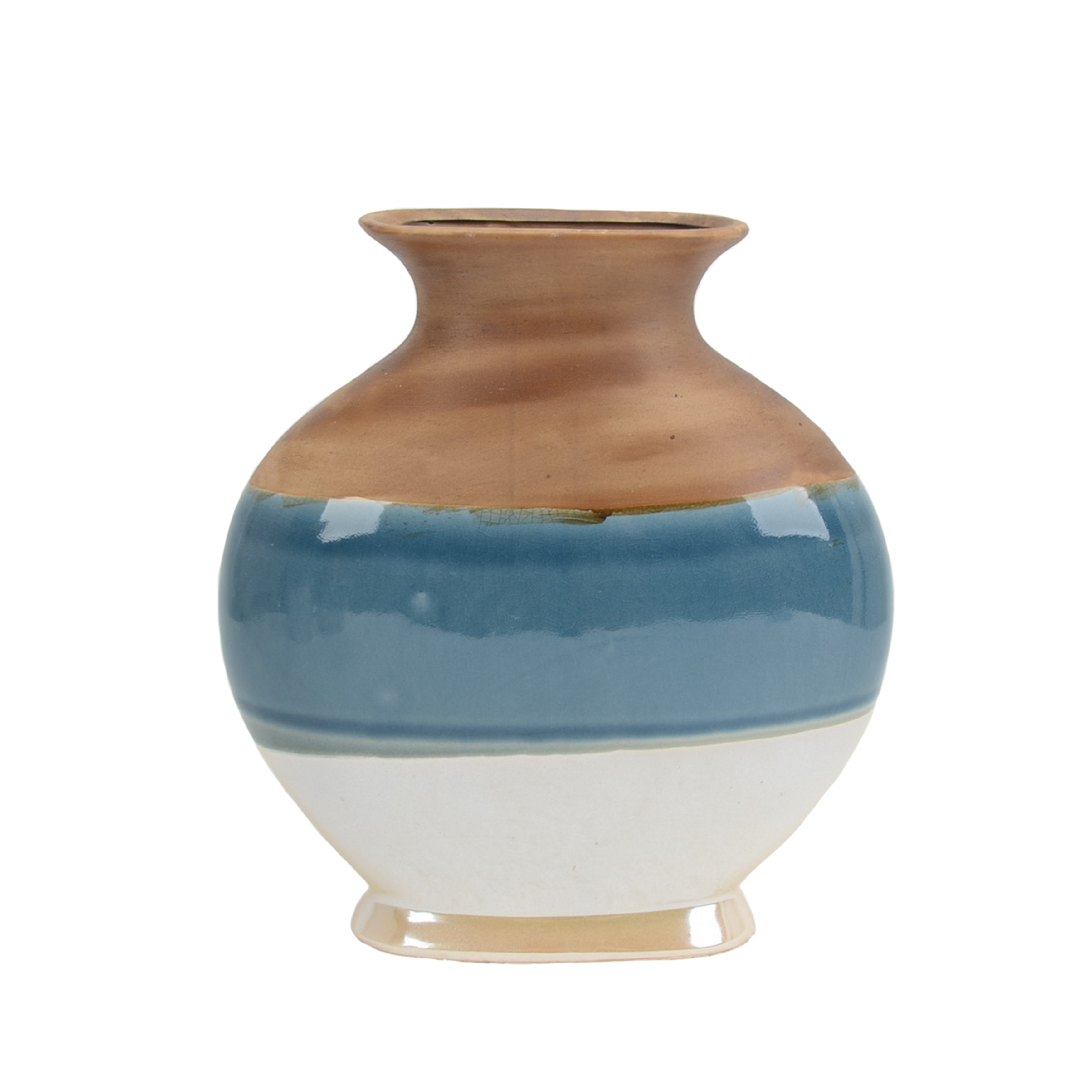 Decorative Ceramic Bellied Vase with Flared Opening and Bottom Rim, Multicolor
