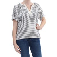 LUCKY BRAND Womens Ivory Mixed Media Striped Top  Size: M