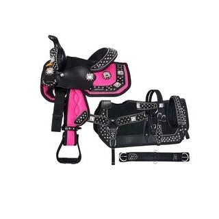 "Tough-1 Western Saddle Set Alligator Print Miniature 8"" Pink"