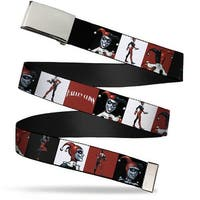 Blank Chrome Buckle Harley Quinn W Poses Blocks Red Black White Web Belt