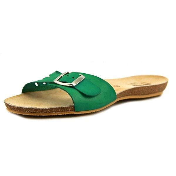 MTNG 93788 Women Open Toe Leather Green Slides Sandal