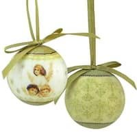 12-Piece Angel Decoupage Shatterproof Christmas Ball Ornament Set 1.75""