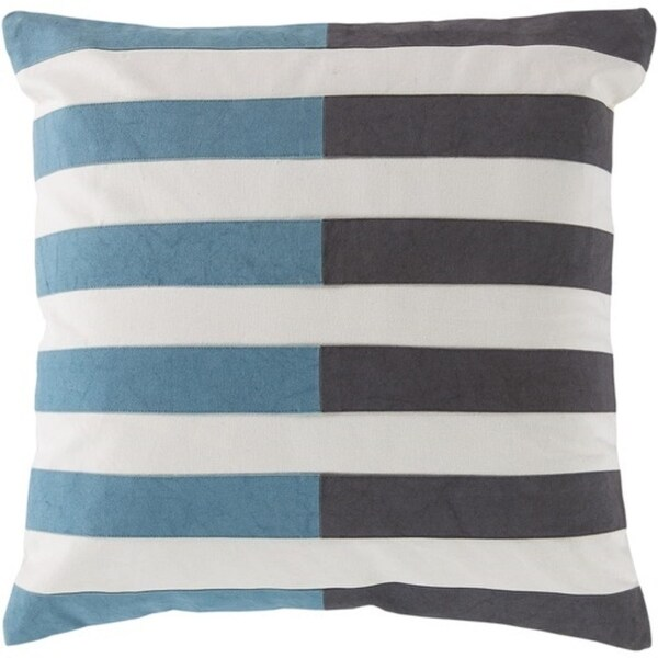 "20"" White, Stormcloud Gray and Steel Blue Striped Decorative Square Throw Pillow - Down Filler"