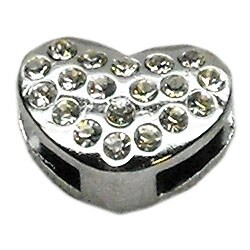 "3/8"" Slider Puffy Heart Charm Clear -"