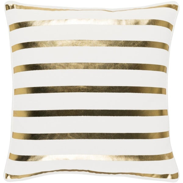 """18"""" Snow White and Rich Gold Decorative Metallic Stripes Holiday Throw Pillow –Down Filler"""