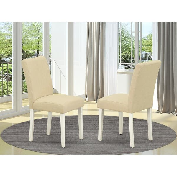 East West Furniture Abp2t02 Abbott Parson Chair With Linen White Leg And Linen Fabric Light Beige Set Of 2 Overstock 28374930