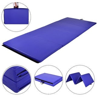 Gymax Blue 4'x10'x2'' Gymnastics Mat Thick Folding Panel Fitness Exercise Mat