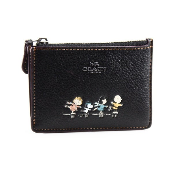 Coach NEW Black Leather Snoopy Peanuts Mini ID Skinny Wallet Case