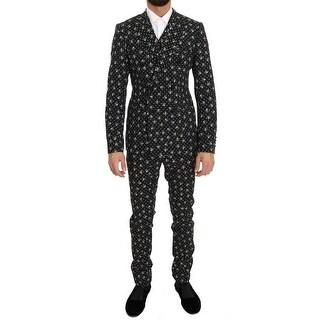 Dolce & Gabbana Black Skull Print Slim Fit 3 Piece Suit