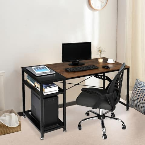 Home Office Computer Desk Study Writing Desk with Storage Shelf