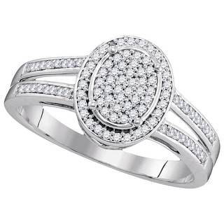 1/4Ctw Diamond Bridal Engagement Ring 10K White-Gold