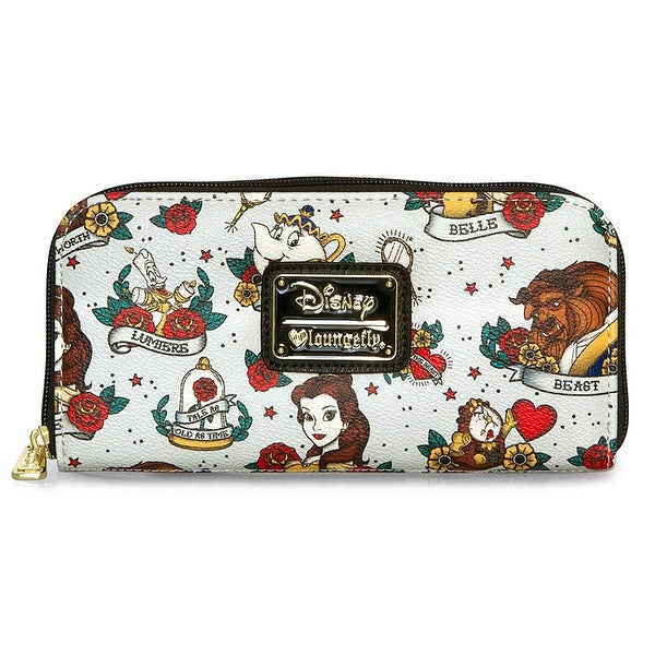 Loungefly Disney Beauty And The Beast Tattoo All Over Print Zip Around Wallet - One Size Fits most