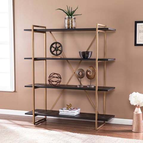 Carbon Loft Harclair Contemporary Black Wood Bookshelf