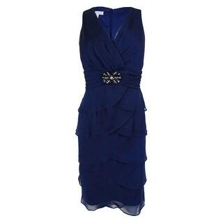 London Times Women's Sleeveless Tiered Dress (10, Navy) - Navy