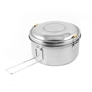"""Unique Bargains Dual Layers Deliberate Clasp Closures Stainless Steel Storage Lunch Box 6.3"""" Dia"""