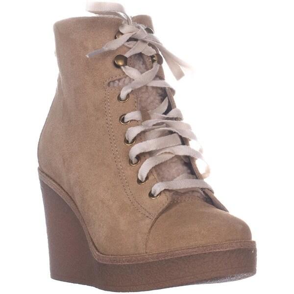 c91349d1fb8 Shop UGG Kiernan Wedge Lace-up Ankle Boots, Honey Suede - Free ...