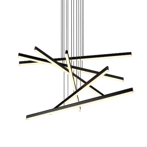 """VONN Lighting Sirius VMP25060BL 32"""" Integrated LED Pendant Lighting Fixture in Black"""