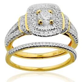 1.00ctw Bridal Wedding Ring Set 14K Yellow gold 0.30ctw 10mm Wide 2pc Set(i2/i3, I/j)