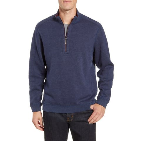 Tommy Bahama Mens Sweater Gray Blue Size Medium M Reversible 1/2 Zip