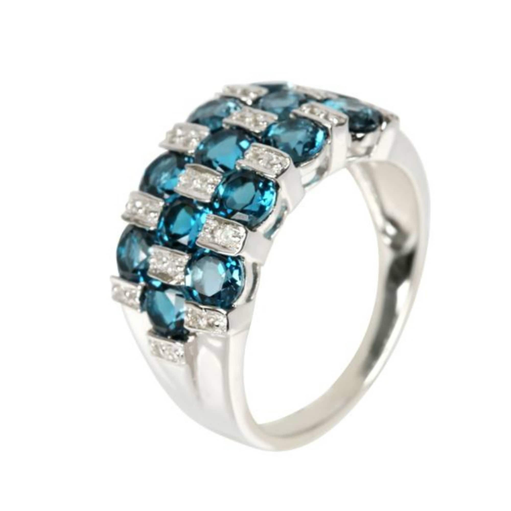 London Blue Topaz Engagement Ring in Stirling Silver-Crystal Healing Stone Ring-White Gold Curved Plated-Wedding Ring-Gift For Her
