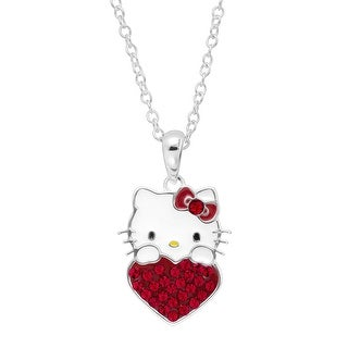Girl's Hello Kitty July Heart Pendant with Crystals in Sterling Silver-Plated Brass - Red