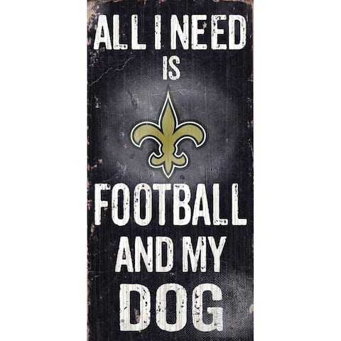"New Orleans Saints Wood Sign - Football and Dog 6""x12"""