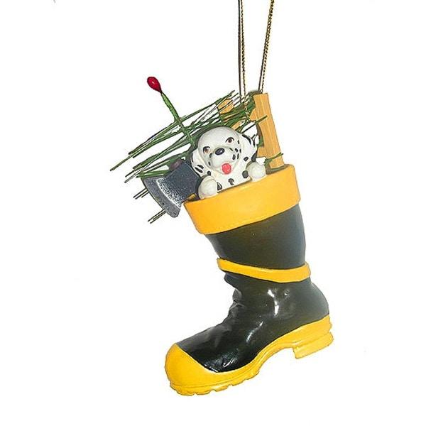 "4.75"" Black and Yellow Fireman Boot with Dalmatian Christmas Ornament"